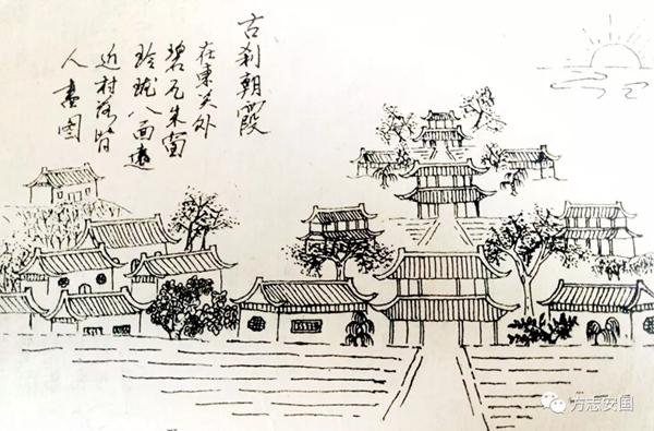 古刹朝霞手绘图